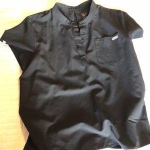 Black short sleeve scrub top